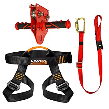 Image of Belay & Rappel Equipment Fusion Climb Pro Backyard Zip Line Kit Harness Lanyard Trolley Bundle FK-A-HLT-31