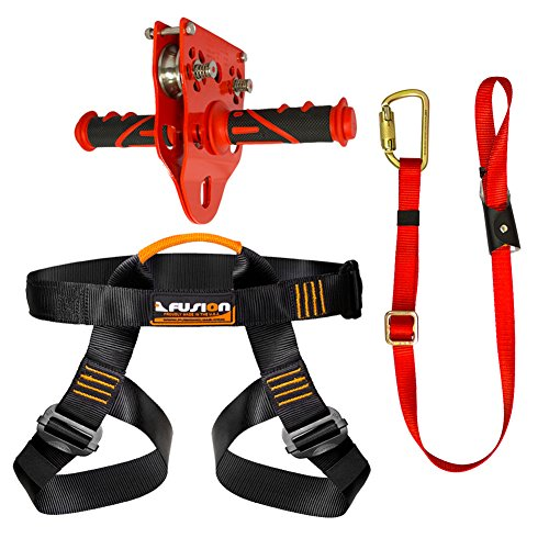 Fusion Climb Pro Backyard Zip Line Kit Harness Lanyard Trolley Bundle FK-A-HLT-31 by Fusion Climb