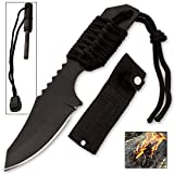 Tanto Survivor Fire starter Knife With Nylon Sheath and Paracord (Black)