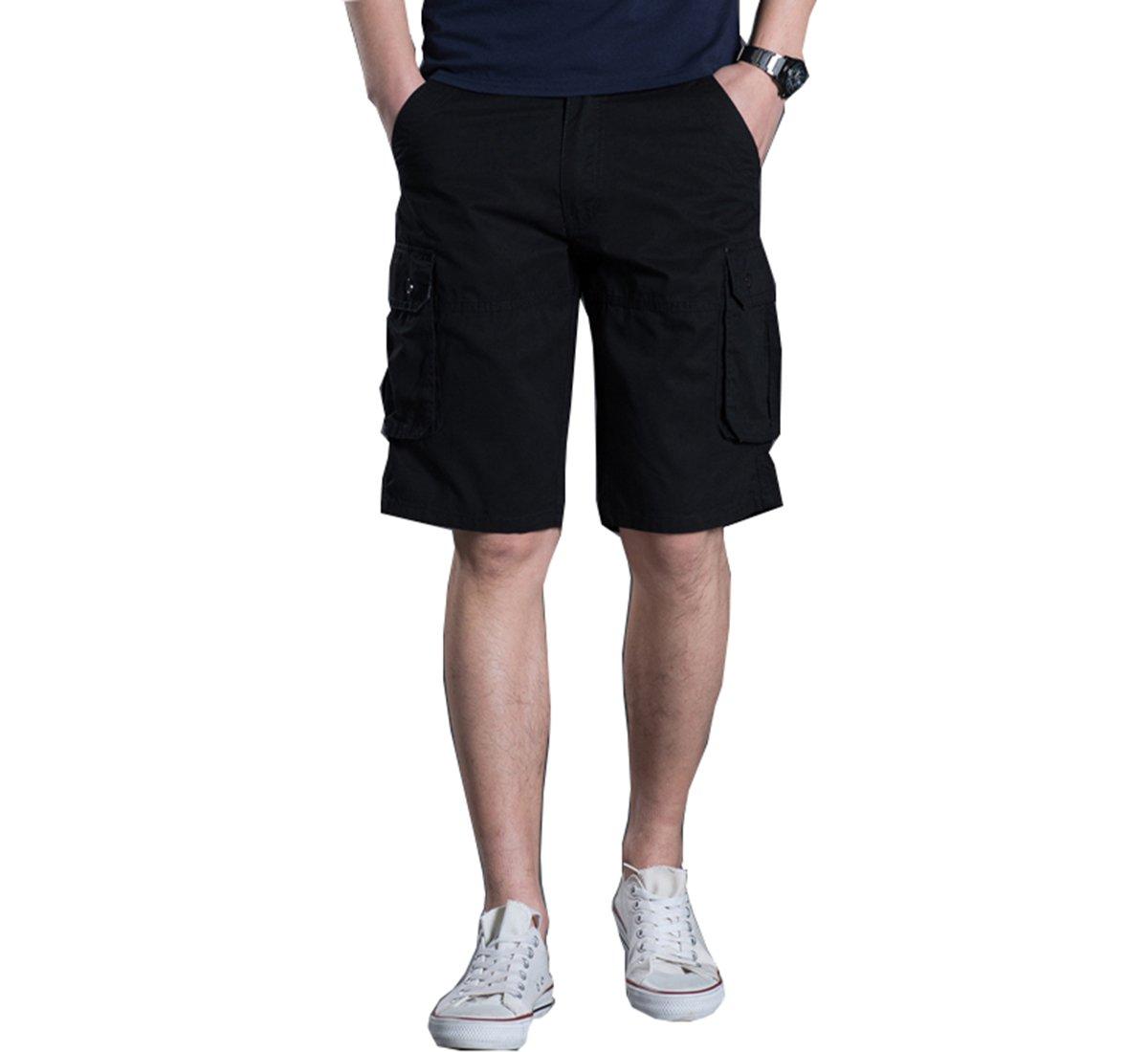 Men's Outdoor Summer Lightweight Cotton Loose Fit Multi Pocket Cargo Shorts (Black, 38)