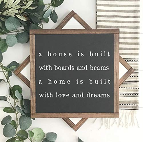 DoreenAbe Personalized Framed Wood Sign, Wood Sign, A House is Built with Boards and Beams, Hand Painted, Home Decor, Inspirational Decor, Framed Wall Art ()