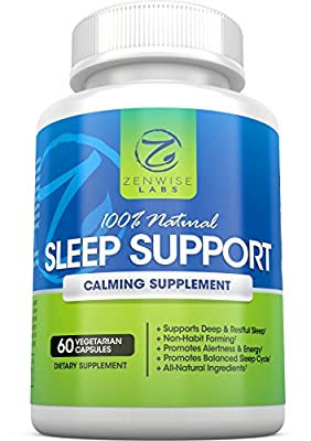 Natural Sleep Aid with Melatonin, Valerian Root, L-Taurine, 5-HTP and L-Theanine - Non Habit Forming Capsules - 60 Vegetarian Pills
