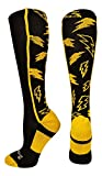 MadSportsStuff Crazy Socks Lightning Bolts (Black/Gold, Small)