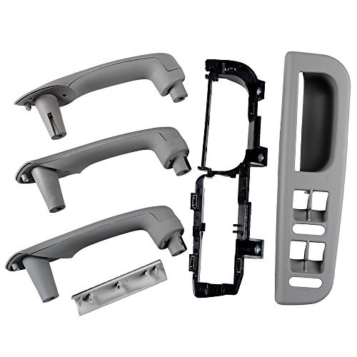 Price comparison product image Set of Gray Car Interior Door Grab Handle Cover Trim Panel Bracket Window Switch Bezel for 1999-2004 VW JETTA GOLF MK4