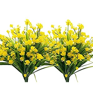 LoveniMen Artificial Camellia Flowers, Plastic Daffodils Fake Plants Wedding Bridal Bouquet Party Indoor Outdoor DIY Home Garden Verandah Corridor Table Arrangements Decoration - Yellow 8pcs 14