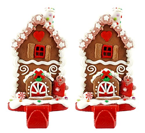 Caffco Gingerbread House Christmas Stocking Holder - Set of 2 (Traditional Holiday)
