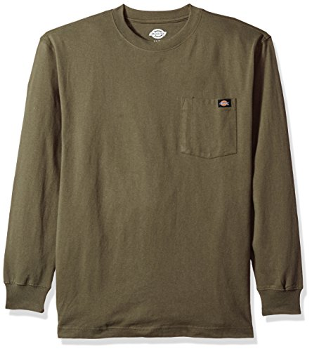 Dickies Men's Long Sleeve Heavyweight Crew Neck, Moss Green, - Cotton Dickies Sweatshirt