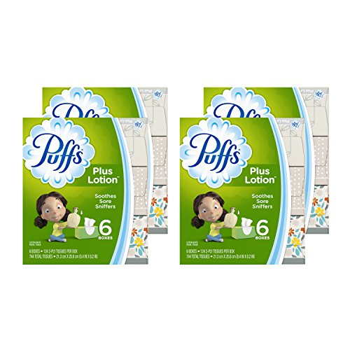 Puffs Plus Lotion Facial Tissues, 24 Family Boxes, 124 Tissues per Box (Packaging may (Puffs Facial Tissue 24 Boxes)