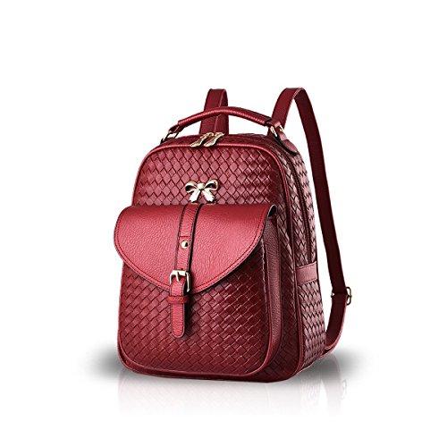 Maglia Zaino Bowknot Durevole Di Spalla Pu Da Rosso Cmtpyy Moda Donna Nera Scuola Viaggio Impermeabile Sacchetto Vino 1ZxwYFq