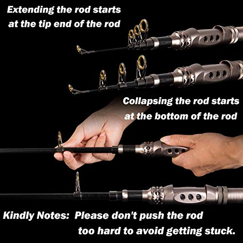 PLUSINNO Telescopic Fishing Rod Retractable Fishing Pole Rod Saltwater Travel Spinning Fishing Rods Fishing Poles