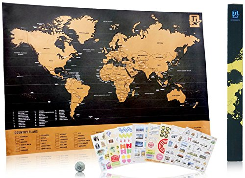 Scratch Travel Map Deluxe - Scratch Easily With Coin Included - 229 Cute Travel Stickers - Share Your Travel Stories