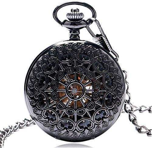 懐中時計、ゴールドカラー中空自動機械式チェーン美しいフォブ時計男性女性手風時計誕生日プレゼント