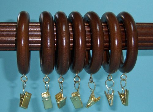 "Kirsch 1-3/8"" Solid Wood Drapery Rings with Brass Clips i..."