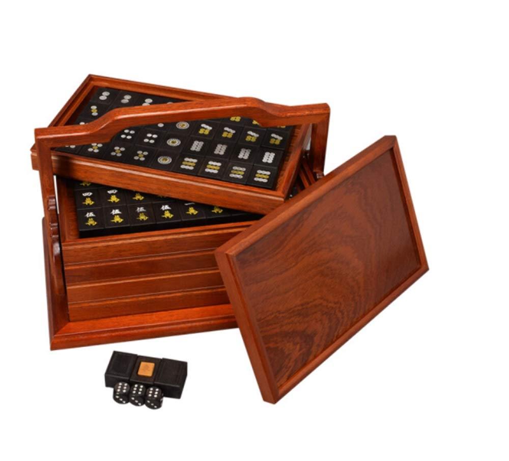 ZLLF Ebony Mahjong Quality and Noble Home Leisure EntertainHommest Collection de Jouets Boîte à Cinq Couches en Bois Mahjong Mat Mah-Jong