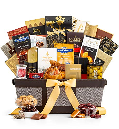 - GiftTree Prestige Gourmet Gift Basket | Includes Lindt, Ghirardelli and Marich Chocolates and So Much More | An Impressive Gift To Send For Any Occasion