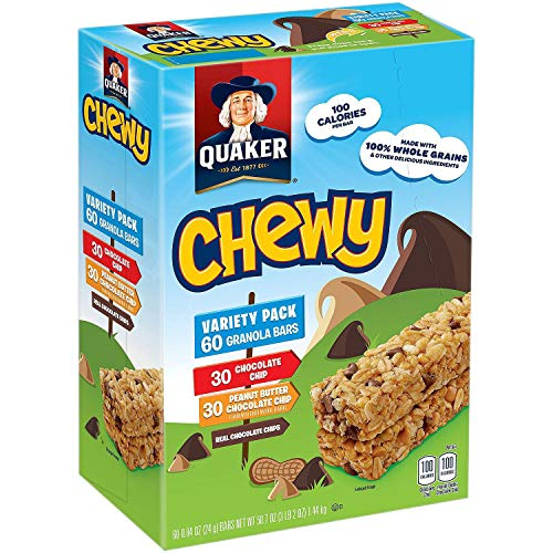 - Quaker Chewy Granola Bars, 3 Flavor Assortment, 60 count, 50.7oz