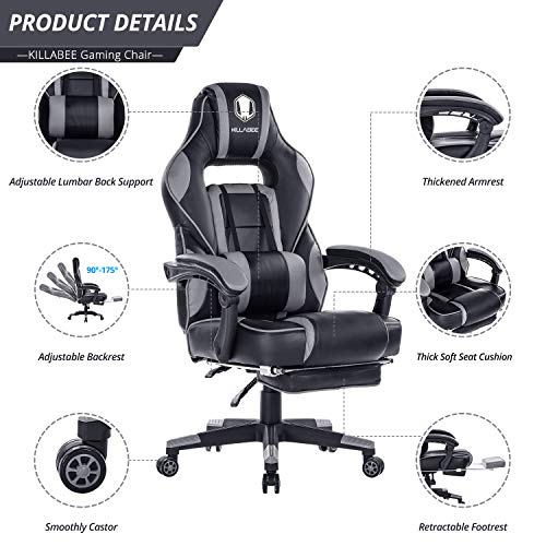 KILLABEE Reclining Memory Foam Racing Gaming Chair - Ergonomic High-Back Racing Computer Desk Office Chair with Retractable Footrest and Adjustable Lumbar Cushion, Grey by KILLABEE (Image #1)