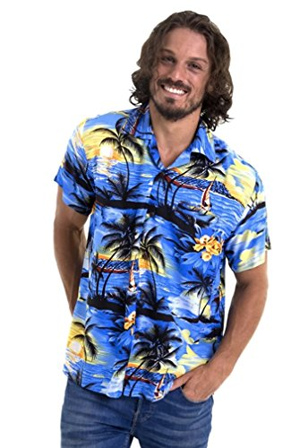 (M&B USA Men's Hawaiian Shirt Button Down Casual Aloha Short Sleeve Beach)