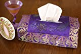 Hand Painted Deluxe Floral Tissue Box Cover (Plum Purple)