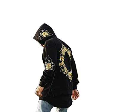 WM & MW Mens Pullover Hoodies Fashion Hip Pop Open Side Flower Print Hooded Sweatshirt Tops