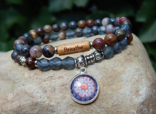 Breathe Mandala Charm Yoga Gemstone Bracelet Message Choose Your Inspiring Word Picasso Jasper Set of 2 Bracelets