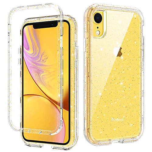 iPhone XR Cases, Gold Glitter iPhone XR Clear Case Three Layer Heavy Duty Hybrid Hard PC Flexible TPU Bumper Shockproof Phone Cover Transparency iPhone XR Protective Case with Gold Flake Bling Design