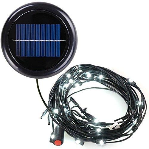 AMPERSAND 9-Ft. 8-Rib Offset Patio Umbrella Solar String Lights (Cool White) (Solar Powered Kit Umbrella Light)