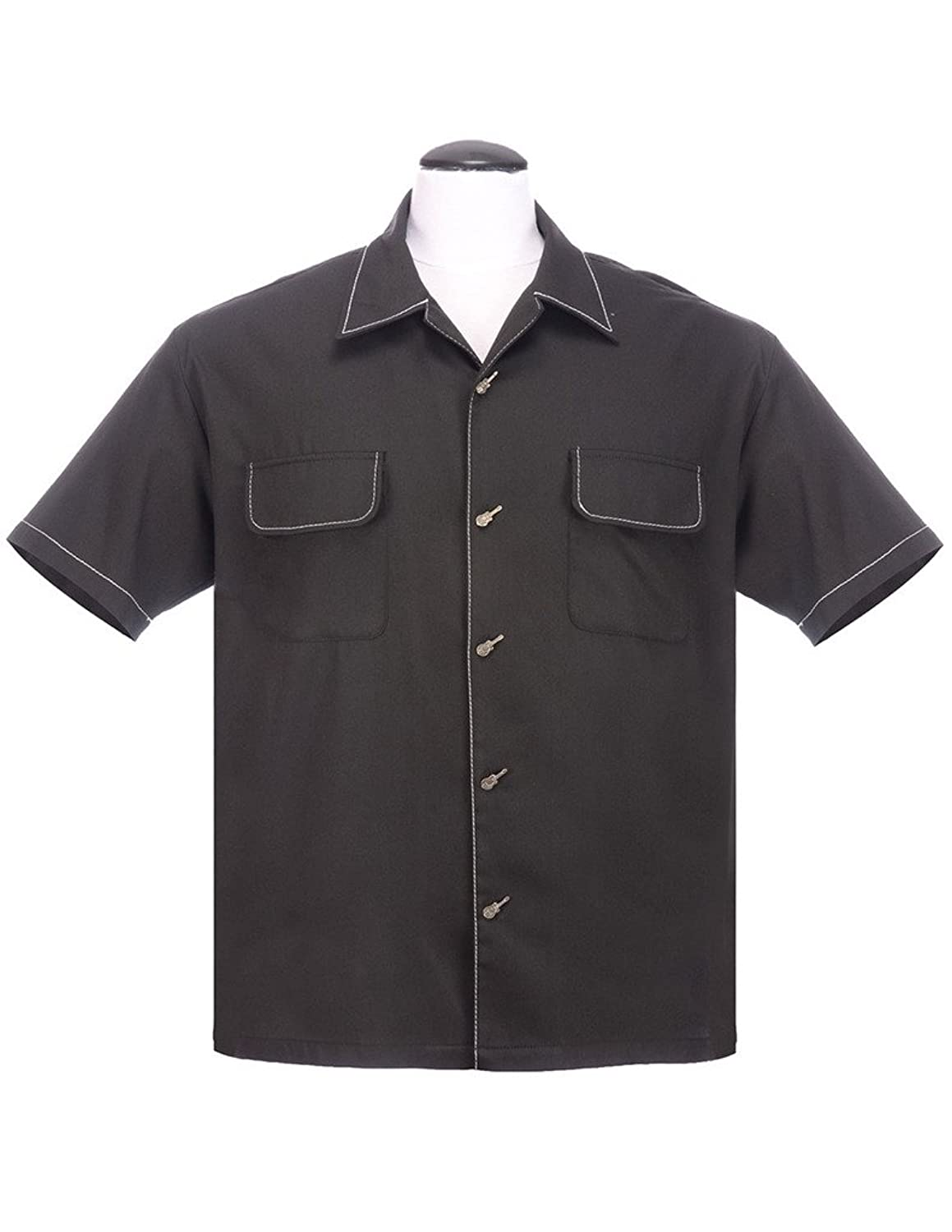 Mens Vintage Shirts – Casual, Dress, T-shirts, Polos Music Button Up Lounge Shirt with Guitar Buttons $58.99 AT vintagedancer.com