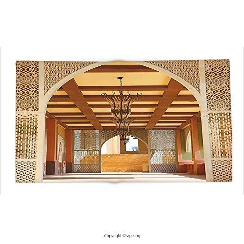 Custom printed Throw Blanket with Arabian Decor Collection Traditional Arabian Architecture in Doha Qatar Middle East Oriental Landmark Hotel Picture Ivory Peru Super soft and Cozy Fleece Blanket by vipsung