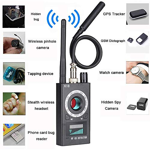 Anti Spy Camera Detector Wireless RF Bug Detector Signal for Hidden Camera Laser Lens GSM Listening Device Finder Radar Radio Scanner Wireless Signal Alarm
