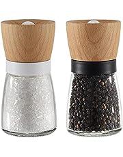 Vevouk Houten zout en peper molen, houten tafel zout molen Shaker, zwart-wit kleur zeezout slijpmachines voor koken, keuken, vakantie, geschenken