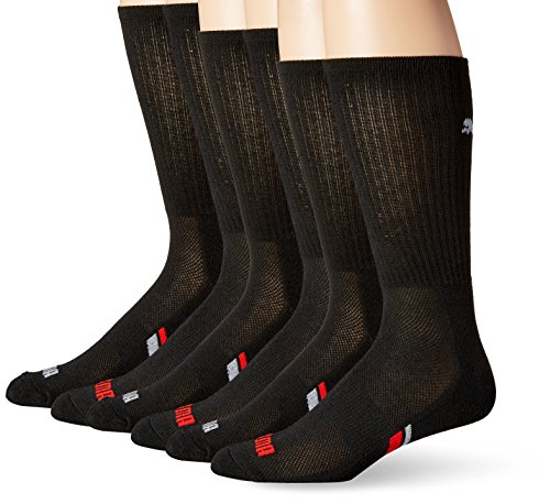 PUMA Socks Men's Crew Socks, Black/Red, Sock Size:10-13/Shoe Size: 6-12 (Pack of 6) (Puma Red Shoes)
