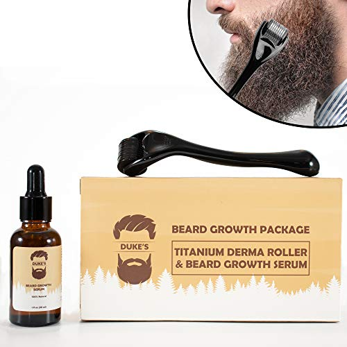 Derma Roller for Beard Growth + Beard Growth Serum - Stimulate Beard and Hair Growth - Derma Roller for Men - Amazing Beard Growth Kit (Best Beard Growth Serum)