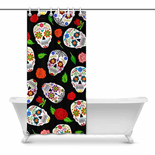 InterestPrint Mexican Dia Los Muertos Sugar Skulls and Roses Modern Art Fabric Shower Curtain, 36 x 72 Inches by InterestPrint