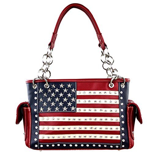 Montana West Western Bling Collection Satchel Handbag w Key Chain (Red American Flag Concealed - West Key Shopping