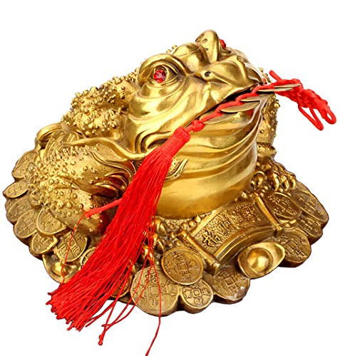 Bitopbi Brass Money Frog Feng Shui Statue Three Legged Wealth Frog Good Luck Sculpture Money Toad Ornament Set of 5 Lucky Charm Ancient Coins on Red String Feng Shui Decor Figurine