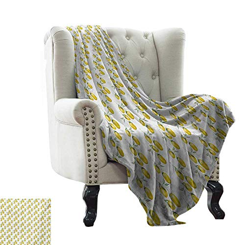 Weighted Blanket for Kids Nature,Lemon Tree Branches Agriculture Kitchen Lemonade Citrus Figure Graphic Art,Olive Green Yellow Winter Luxury Plush Microfiber Fabric 60