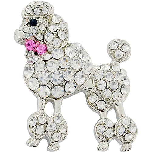 Poodle Dog Pin (Chrome Poodle Dog With Pink Bow Crystal Brooch Pin)