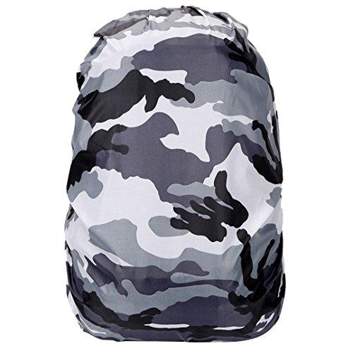 TOOGOO(R) 1pcs Nylon Camouflage RainCover 30-40L Protable Waterproof Backpack Bag Rain Cover For Travel bag(White camouflage) SHOMAT11460
