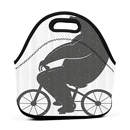 Neoprene Lunch Bag Vintage Decor,Bear on a Bike Cute Humor Parody Stylized Modern Funny Cycling Hipster Artwork,Grey,pepper pig lunch bag for kids
