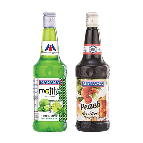 Manama Lime and Mint Mojito Flavoured Syrup and Manama Peach Flavour Ice Tea Syrup, 750ML Each, Pack of 2