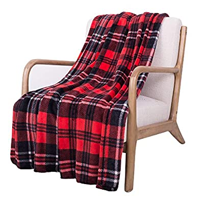 SOCHOW Flannel Fleece Throw Blanket 50 × 60 Inches, All Season Plaid Red/Grey Blanket for Bed, Couch, Car - MATERIAL&DESIGN:These flannel blankets are 100% high-quality polyester fiber. The thick and thin lines are interspersed to emphasize the texture of the blankets, which are endowed with modern style without compromising comfort.They are extremely soft and warm with delicate package edge, rigorously designed with rigorous broad-brimmed pattern. Besides, they also feature seamless round edge, solid and beautiful. EASY CARE: - Machine washable under 30 degrees -Easy to store, -Wrinkle-resistant -High color fastness &No hair off. MULTI FUNCTIONS:Suitable use for couch, chair, car, bed or on the floor. It's also easy to take to outdoors. - blankets-throws, bedroom-sheets-comforters, bedroom - 519gZkkhlmL. SS400  -