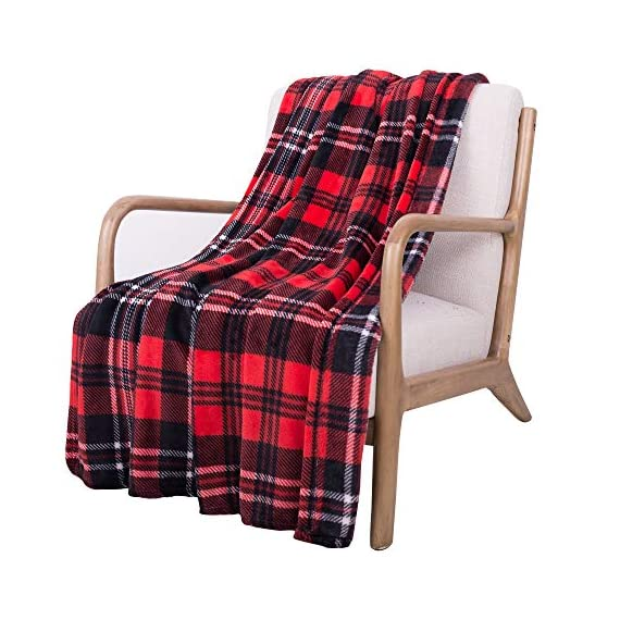 SOCHOW Flannel Fleece Blanket 50 × 60 Inches, All Season Plaid Red/Grey Blanket for Bed, Couch, Car - MATERIAL&DESIGN:These flannel blankets are 100% high-quality polyester fiber. The thick and thin lines are interspersed to emphasize the texture of the blankets, which are endowed with modern style without compromising comfort.They are extremely soft and warm with delicate package edge, rigorously designed with rigorous broad-brimmed pattern. Besides, they also feature seamless round edge, solid and beautiful. EASY CARE: - Machine washable under 30 degrees -Easy to store, -Wrinkle-resistant -High color fastness &No hair off. MULTI FUNCTIONS:Suitable use for couch, chair, car, bed or on the floor. It's also easy to take to outdoors. - blankets-throws, bedroom-sheets-comforters, bedroom - 519gZkkhlmL. SS570  -