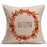"Pillowslips, Challyhope Fall Thanksgiving Day Home Decor Linen Pillow Case Soft Cushion Cover (18""x18"", B)"