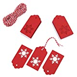 Whale 100 Pack Paper Tags Kraft Gift Tags Snowflake Shape Hang Labels with 30 Meters Natural Jute Twine for DIY Arts and Crafts, Wedding Christmas Thanksgiving and Holiday, (Red)