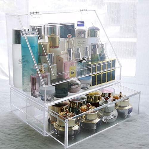 化粧品収納ボックス 家庭用防塵引き出し型大容量化粧品収納箱カバー付き透明アクリル DWWSP (Size : A)