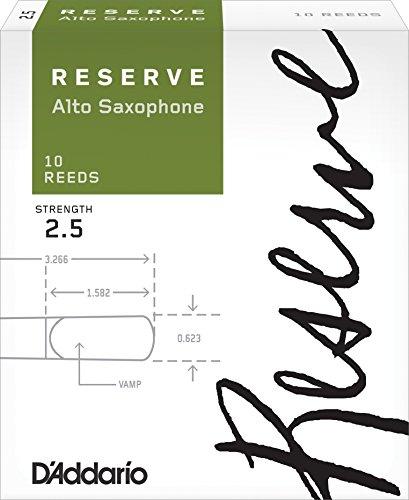 D'Addario Reserve Alto Saxophone Reeds, Strength 2.5, 10-pac