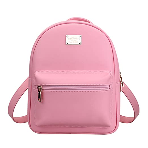 Tonlili Cool Leather Mini Womens Backpacks Purse Shoulder Bags Pink