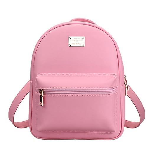 Tonlili Cool Leather Mini Womens Backpacks Purse Shoulder Bags Pink