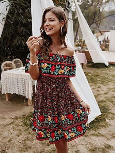 Off Shoulder Ruffle Print Dress